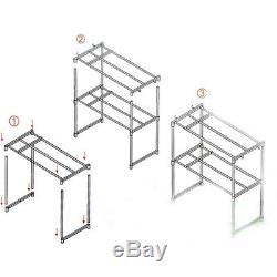 Stainless Steel Microwave Oven Stand Shelf Caddy Side Storage Rack Organizer