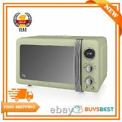 Swan 20Ltr Retro Digital Microwave 800W With 5 power levels In Vintage Green