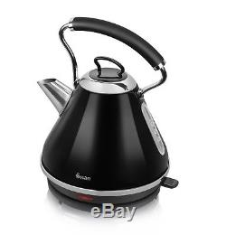 Swan Black Microwave 20 Litre 800w Kettle 3kW 1.7L & 2 Slice Toaster Set