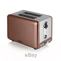 Swan Copper Microwave 20L 800w Pyramid Kettle 3kW 1.7L & 2 Slice Toaster Set
