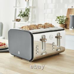 Swan Nordic Grey Kitchen Set 1.7L Kettle, 4 Slice Toaster & Digital Microwave