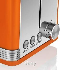Swan Orange Combo Retro Set Digital Microwave Cordless Jug Kettle and Toaster