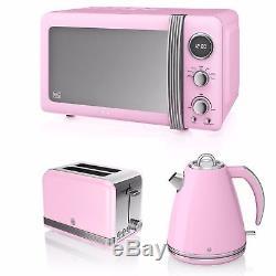 Swan Pink Microwave 20L 800w Retro Jug Kettle 3kW 1.5L & 2 Slice Toaster Set