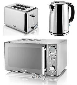 Swan Polished Stainless Steel Set Digital Microwave Electric Kettle & Toaster