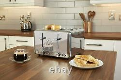 Swan Polished Stainless Steel Set Electric Kettle 4 Slice Toaster and Microwave