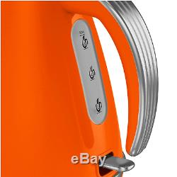 Swan Retro 1.5 Litre Jug Kettle, 2 Slice Toaster & 800W Digital Microwave Orange