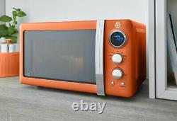 Swan Retro Kettle, 2 Slice Toaster & Digital Microwave Orange Combo Set