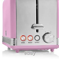 Swan Retro Kettle, 2 Slice Toaster & Digital Microwave Pink Combo Set