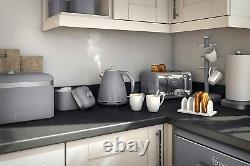 Swan Retro Kitchen Set Microwave 20L Jug Kettle 1.5L & 4 Slice Toaster GREY