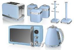 Swan Retro Mega Set Microwave Kettle Toaster Canisters Mug Tree and Roll Holder