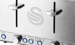 Swan Stainless Steel 20L Microwave, 1.7L Jug Kettle and 4 Slice Toaster Set