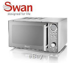 Swan Stainless Steel 800w Digital Microwave 1.7 Litre Jug Kettle 4 Slice Toaster