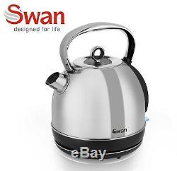 Swan Stainless Steel 800w Digital Microwave 1.7 Litre Kettle 4 Slice Toaster
