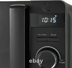 Swan Stealth Matte Black 20L Microwave, 1.7L Kettle & 4 Slice Toaster Set -NEW
