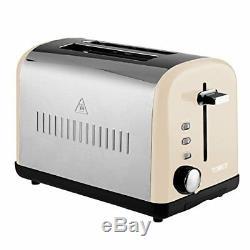 TOWER Cream Silver 2 Slice Toaster 1.8L Pyramid Kettle & Cream DIGITAL Microwave