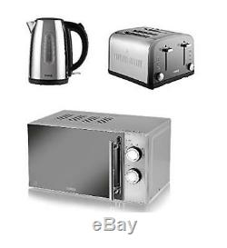 TOWER Polished Silver 1.7L Jug Kettle a 4 Slice Toaster and a Manual Microwave