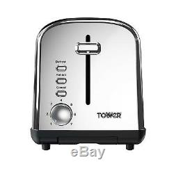 TOWER a silver 1.7L Jug Kettle a Silver 2 Slice Toaster and a Silver Microwave