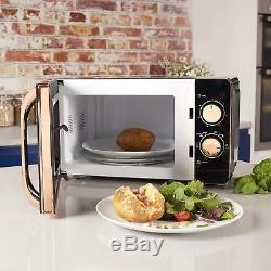 Tower 20L 800W Manual Solo Microwave In Black & Rose Gold T24020 -3Year Guarante