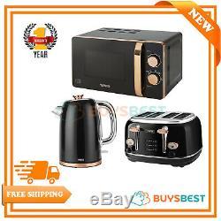 Tower 20L Manual Microwave, 1.7L Kettle & 4 Slice Toaster Set Black & Rose Gold