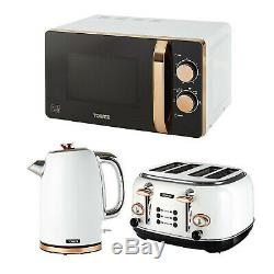 Tower 20L Microwave, 1.7L Kettle & 4 Slice Slot Toaster Set In White & Rose Gold
