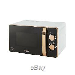 Tower 20L Solo Microwave, 1.7L Kettle & 2 Slice Toaster Set In White & Rose Gold