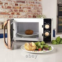 Tower 20L Solo Microwave 1.7L Kettle & 2 Slice Toaster Set In White & Rose Gold