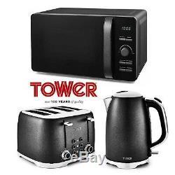 Tower Black Glitz Sparkle Microwave Jug Kettle 1.7 Litre 3kW 4 Slice Toaster