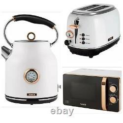 Tower Bottega 1.7L Kettle, 2 Slice Toaster & 20L Microwave Set White & Rose Gold