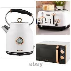 Tower Bottega 1.7L Kettle, 4 Slice Toaster & 20L Microwave Set White & Rose Gold