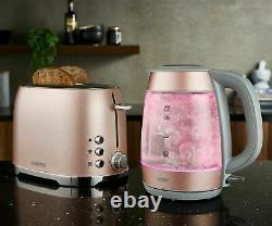 Tower Glitz Blush Pink Glass Kettle, 2 Slice Toaster &800W Digital Microwave Set