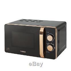 Tower ROSE GOLD BLACK Manual Microwave, Bottega 1.7L Kettle & 4 Slice Toaster