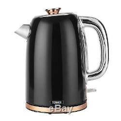 Tower Rose Gold & Black 20L Microwave, 1.7L Kettle & 2 Slice Toaster Set