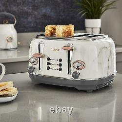 Tower Rose Gold & Marble 20L Microwave, 1.7L Kettle And 4 Slice Toaster Set -NEW