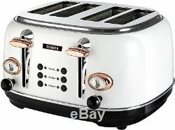 Tower Rose-Gold Set Microwave Kettle Toaster Bread Bin Storage Salt Pepper Mill