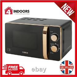 Tower T24020 20L Solo Manual 20L 800W Microwave Black And Rose Gold Brand New