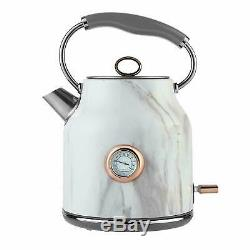 Tower White Marble Rose Gold Microwave Kettle 1.7 Litre 3kW & 2 Slice Toaster