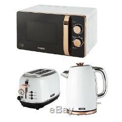 Tower White Rose Gold Bottega Microwave Jug Kettle 1.7 Litre 3kW 2 Slice Toaster