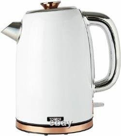 Tower White and Rose Gold Mega Giga 16 Piece Set Kettle Toaster Microwave Bin