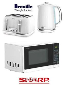 White Breville Impressions Kettle and Toaster Set & Sharp Microwave New