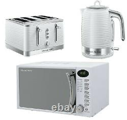 White Kitchen Set Four Slice Toaster Electric Jug Kettle and Digital Microwave
